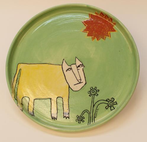 """Talking Tricksters. Stoneware """"Blu Foot"""" plate."""