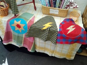Jenny Stevens. Three Super-Hero capes for children and adults.