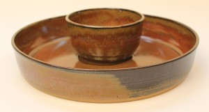 Talking Tricksters. Stoneware Chip and Dip set.