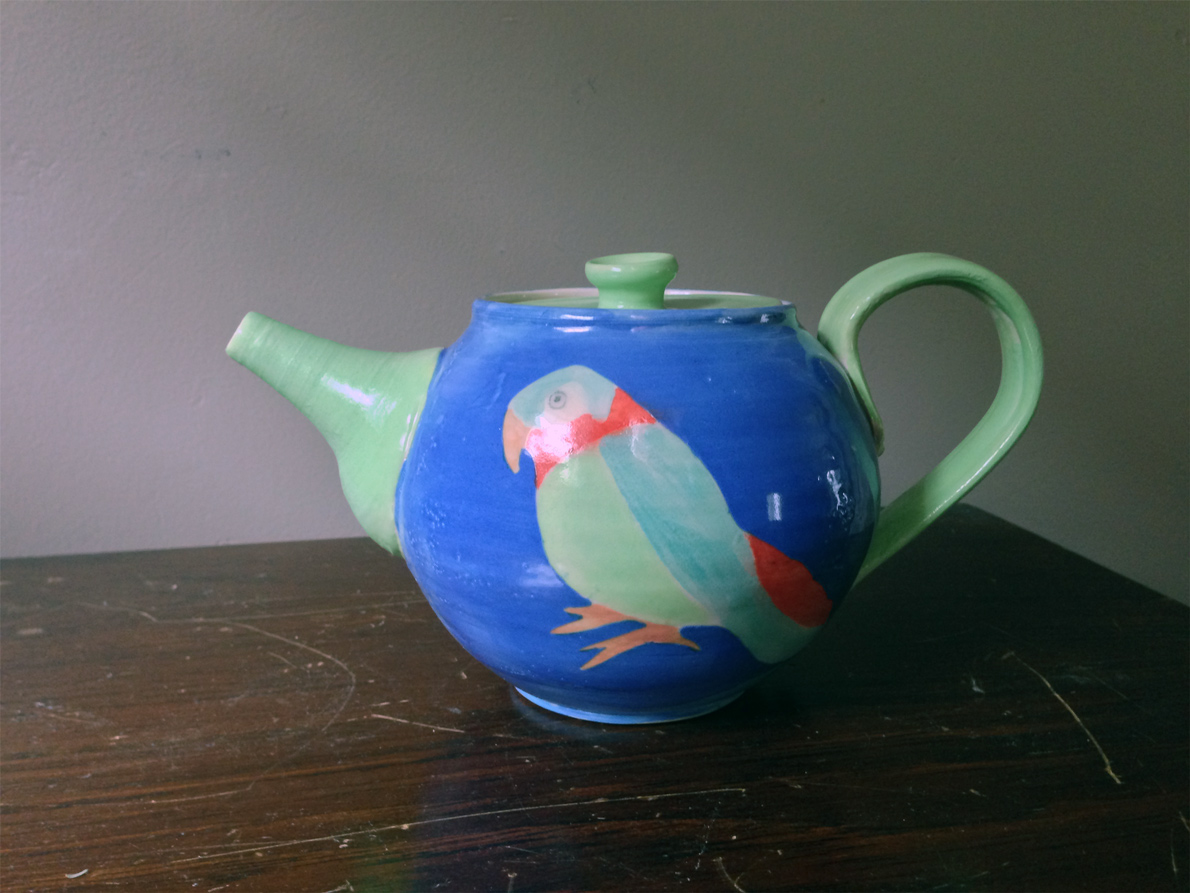Two Parrot Teapot Side 2