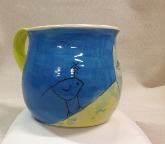 Blufoot with bird mug view 4