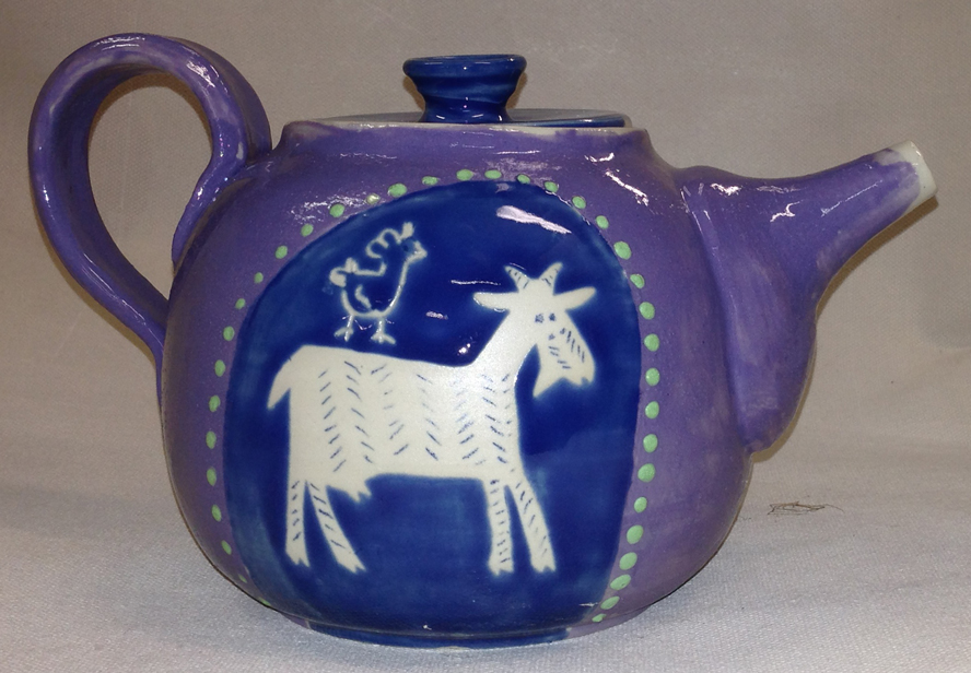 """It could always be worse"" teapot based on a traditional Yiddish story."