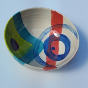 Large Blue Red Bowl